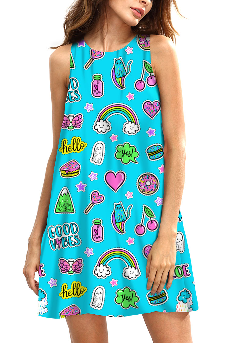 e2fbe69fac303 Women Fit And Flare Modern Pop Art Sticker On Blue Summer Dress Mini Skater  Skirt Casual Dress