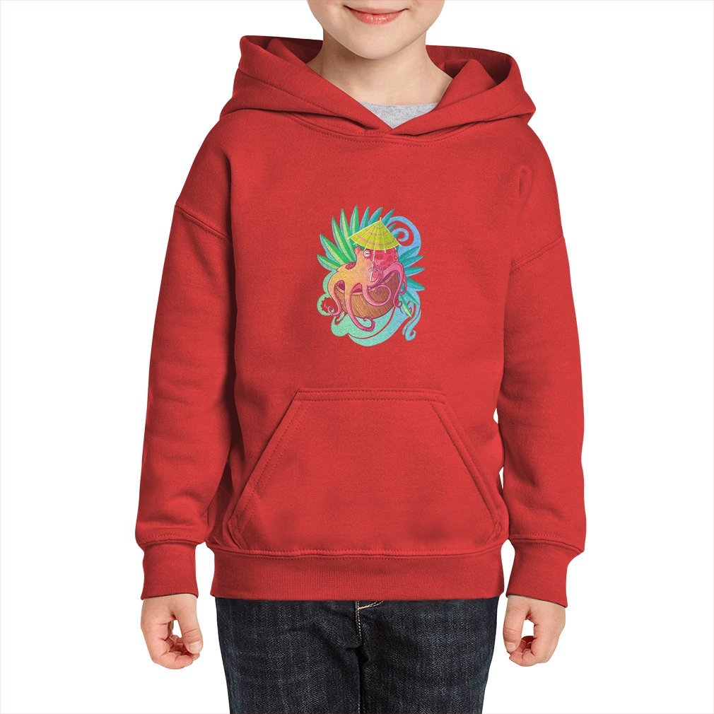 Thumb Octopus on the Beach Kid Hoodie